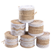 . Natural Burlap Craft Ribbon Roll with White Lace for Wedding Decoration, Christmas Gift Decoration and Outdoor Party Decoration