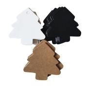 Mcree 150 Pcs Display Gift Tags Hang Tag Name Card Favour Tags in Christmas Tree Shape, 50 Pcs White & 50 Pcs Kraft & 50 Pcs Black