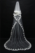 Wedding Veil 3m European And American Lace Long Tail Mosaic Lace Head Yarn Bride Married Princess Veil