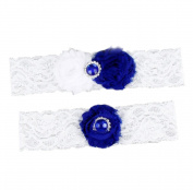 Fablcrew Wedding Garter Vintage Blue Gemstone Crystal Lace Wedding Bridal Garter Dark Blue