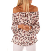 HKFV Unique Charming Sexy Style Leopard Fashion Long Sleeve Women Off Shoulder Floral Print Blouse Casual Tops T Shirt