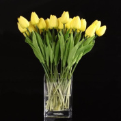 COFCO 10pcs Yellow Latex Real Touch Tulip Flower with Leaves For Wedding Bouquet Decorate