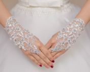 Dbtxwd Glove Bridal Pierced Lace Seam drilling Net Yarn Gloves Sleeve.pack of 2 double. , white