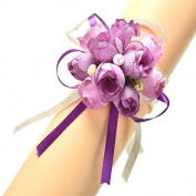 COFCO 1pcs Wedding Beads Roses Ribbon Corsage Bridesmaid Wrist Hand Flower Prom Bracelet Party Decor