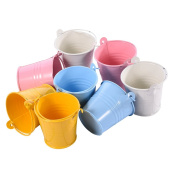 Slivercolor 12 pcs Colourful Mini Metal Bucket,Mini Bucket Guest, DIY Wedding Party Candy Barrels for Wedding Party, 4 Colour