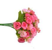 Visork Artifical Rose Flower Floral Bridal Bouquet Silk Flower Decoration Bouquet For Weeding Party Home Decor Pink