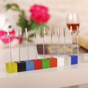 BESTOMZ 10pcs Cube Wire Resin Base Memo Photo Holder Card Paper Note Clip