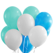 30-Count Mixed 25cm Baby Blue Mint Green White Latex Party Balloon Bouquet Wedding Baby Shower Nursery Children Room Birthday Party Decoration