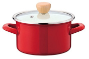 Horow two-handed pot 15 cm glass pot with lid Red IH-compatible cook pot