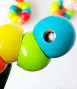 Fhouses BThethrough Toys Colourful Wooden Worm Sensory Wood BeThed Toys for Kids Children