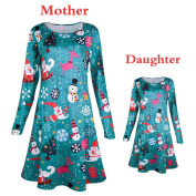 Floral Xmas Swing Dress,Wyurhjh® Sexy Parent-Child Princess Dress Elegant Christmas Evening Dress Cosmetic Costume for Girls Women
