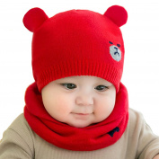 Samidy Knit Beanie Cap for Baby, Autumn Warm Kids Girl Boy Ear Hat+Scarf for Babies 0-12Month