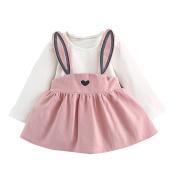 Toddler Baby Kid Girl Autumn Winter Cute Rabbit Long Sleeve Bandage Suit Mini Dress