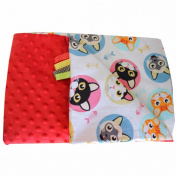 Minky Crawling Blanket/Baby Blanket Super Soft and Fluffy Cat Handmade Stars