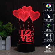 REDOI Love Balloon 3D Illusion Lights Colourful LED Touch Button USB Birthday Bride Christmas Gift