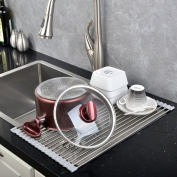 YKL Kitchen Sink Rack - Stainless Steel Folding Colander Drying Tray,Silver & White