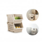 2 Tier Stacking Stand Basket,BAFFECT® Stacking Baskets Storage Veg Rack Plastic Stackers Storage Rack with Wheels for Bathroom Living Room Kitchen Vegetable Fruit Food Storage