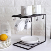 Metal Coffee Cup Holder Organiser Mugs Rack Stand Plate Dish Storage Holder Rack for Cabinet Table Counter