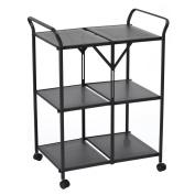Earlybird Savings Kitchen Steel Storage Rack with Wheels, 3-Shelf Folding Service Cart, kitchen storage cart