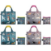 LOQI CO.CD Cats and Dogs Collection Pouch (Set of 4), Multicolor