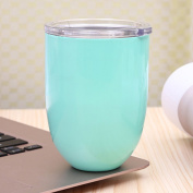 Zantec Stainless Steel Metal Vacuum Cup Egg Shell Shape Water Thermos Cocktail Tumbler Wine Cup Coffee Mug With Lid 300ml Mint Green