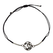 Silver Om Bracelet with Adjustable Black Cotton Cord