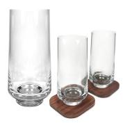 Ginsanity City Bar Long Drinking Glasses & Walnut Coasters - 400ml