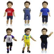 ZITA ELEMENT Boy Doll Clothes - 6 Sets Daily Casual Clothes Outfits for 46cm American Girl & Boy Dolls Logan Doll XMAS GIFT