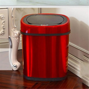 Z & HAOIntelligent Induction Trash Barrel Stainless Steel With Inner Bucket Red 12 L