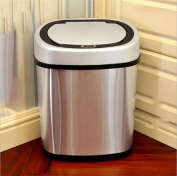 Z & HAOLuxury Intelligent Dustbin Infrared Sensor Trash Box Stainless Steel Polished Surface Silver