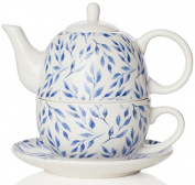 Sabichi Beatrice Tea for One, Bone China, Blue, 14 x 16.5 x 15 cm