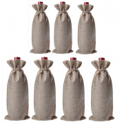 JuneJour 7Pcs Christmas Wine Bottle Cover Bags Lace Eve Dinner Table Decoration Gift Wrap Pouch with Drawstring Linen Colour