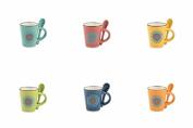 Villa d 'Este Home Tivoli Sunflower St Coffee Cups, Stoneware, Multicoloured, 6 Units