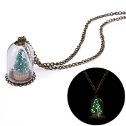 JETTINGBUY Man and Woman Luminous Real Christmas Tree Seat Glass Bottle Necklace