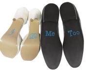 """Set of """"I Do"""" """"Me Too"""" Something Blue Crystal Rhinestone Wedding Shoe Stickers"""