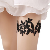 iShine Bridal Wedding Lace Garter, Sexy Black Floral Lace Embroidery Garter Belt