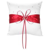 Decdeal 7 * 18cm Double Heart Satin Wedding Ring Bearer Pillow with Rhinestone Diamond Decoration Wedding Supplies