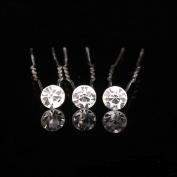 Slivercolor 10pcs U-shaped hairpin hair clips bridal crystal rhinestone hairpins bridal hair jewellery