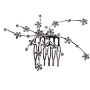 CHIC*MALL Wedding Hair Combs Plum Blossom Crystal Bride Flower Hair Comb Wedding Accessories