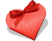 10 Red Silk Heart Shape Card Gift Boxes - Wedding Favours | Cardboard Gift Boxes