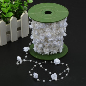 30M/Roll White Pearl String Beads Garland Decoration Curtain Roll with Riband Rose for Wedding Flower Craft DIY Centrepiece Bridal Bouquet Decoration