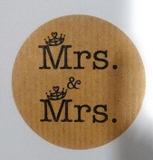 100 Kraft Tags Wedding Gay, 100 Stickers SAME SEX Gay Wedding Mrs & Mrs