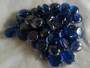 100 Dark Blue Round Glass Pebbles/Stones/Gems/Nuggets /Beads 17 - 20mm