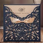 WISHMADE Wedding Invitations Cards 50PCS Laser Cut Navy Blue Square Invitation with Bow Lace Sleeve for Engagement Baby Bridal Shower Birthday Quinceanera CW6179B