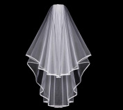 1PCS Double Layer Circular Ribbon Bridal Wedding Veil With Comb and Double Ribbon Edge