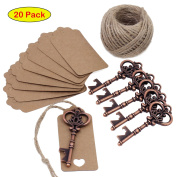 PsmGoods® Wedding Favour Antique Key Bottle Openers Kraft Paper Gift Tags Rectangle Tags with Vintage Copper Key Wine Openers for Wedding Party Decoration Baby Shower Gifts Guest Party Banquet Bar Supplies 20 Pieces