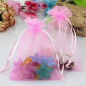 100pcs Pink Organza Gift Bags Wedding Party Favour Bags Jewellery Pouches Wrap Candy Bag 12cm x 9.9cm DIKETE®