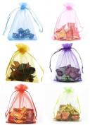 DIKETE® 120pcs Multi-Coloured Organza Gift Bags Wedding Party Favour Bags Jewellery Pouches Wrap Candy Bag 12cm x 9.9cm