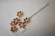 Rose Gold Metallic Flower with Pearl Centre Wire Spray 21cm x 3cm