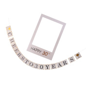 MagiDeal Cheers to 30 years Garland+Photo Frame Booth Prop Birthday Anniversary Decor